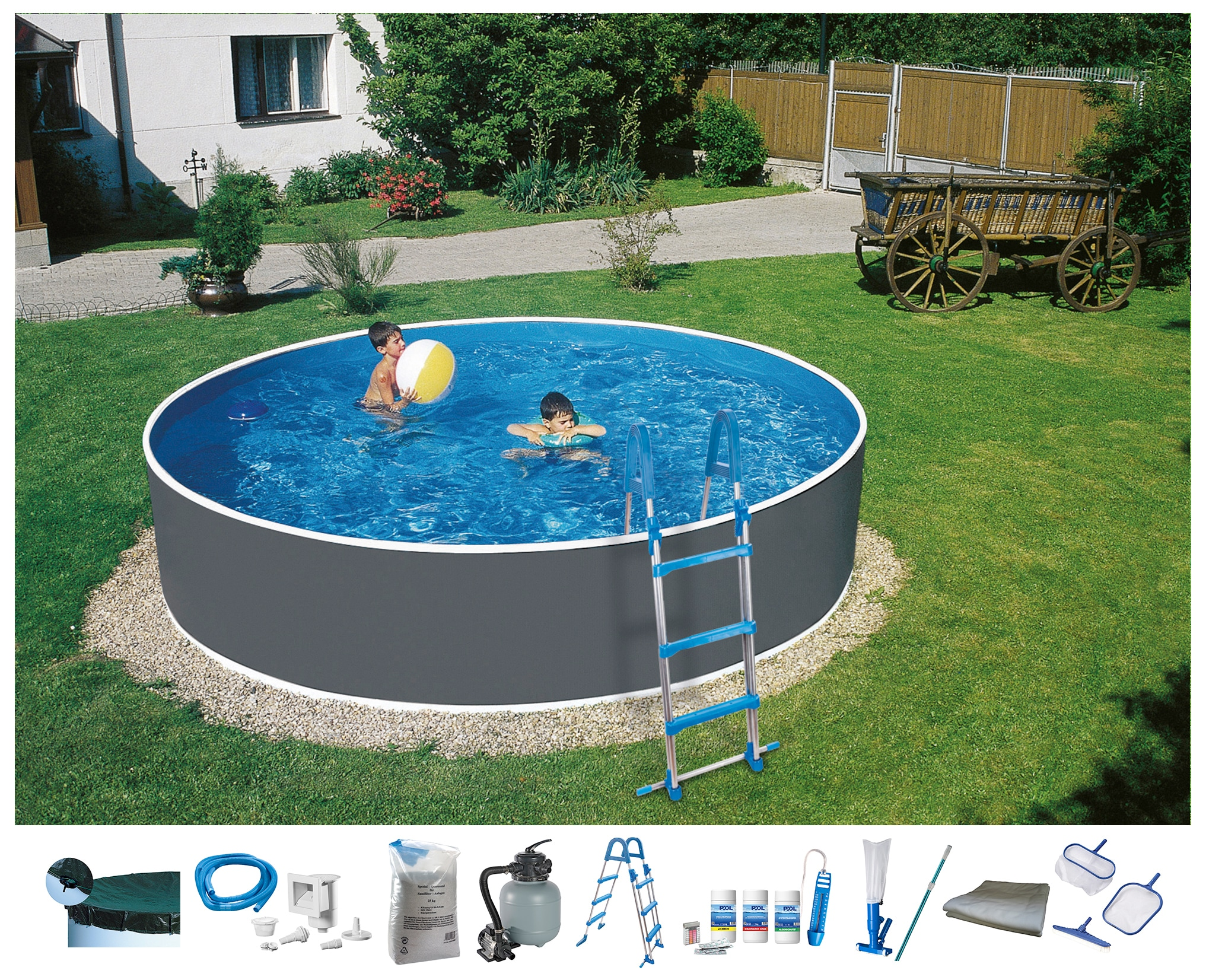 Set: Rundpool »Standard«, 5-tlg., ØxH: 400x90 cm   Garten > Swimmingpools   QUELLE
