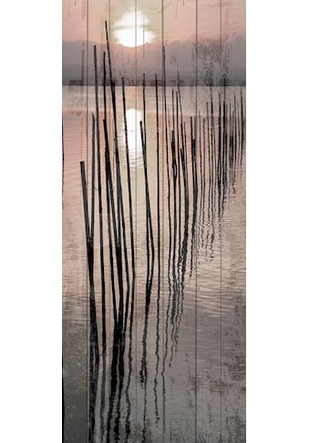 QUEENCE Holzbild »Sonnenuntergang See«, 80x40 cm Echtholz kaufen
