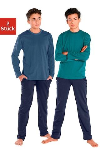 Pyjama, (2 tlg., 2 Stück), in Basicfarben kaufen