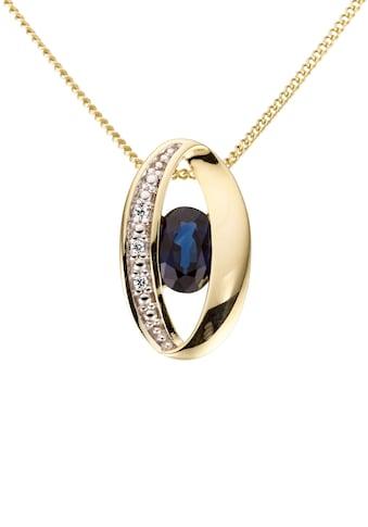 Firetti Kettenanhänger »Oval, glanz, massiv«, mit Saphir und Brillanten kaufen