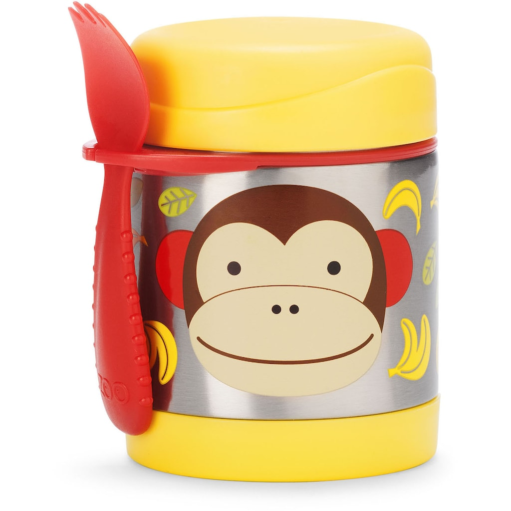 Skip Hop Thermobehälter »Zoo Edelstahl Warmhaltebehälter Affe«, (2 tlg.), mit Multibesteck