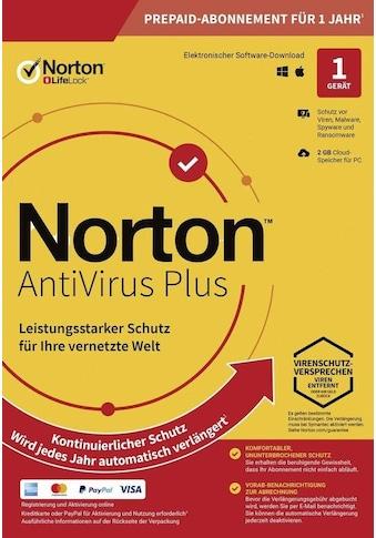Norton Virensoftware »2 GB Cloud-Speicherplatz«, Antivirus PLUS 1User 1Device 12Monate kaufen