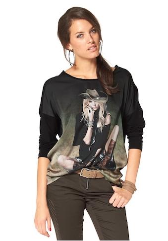 Aniston CASUAL Langarmshirt, mit femininem Frontdruck kaufen