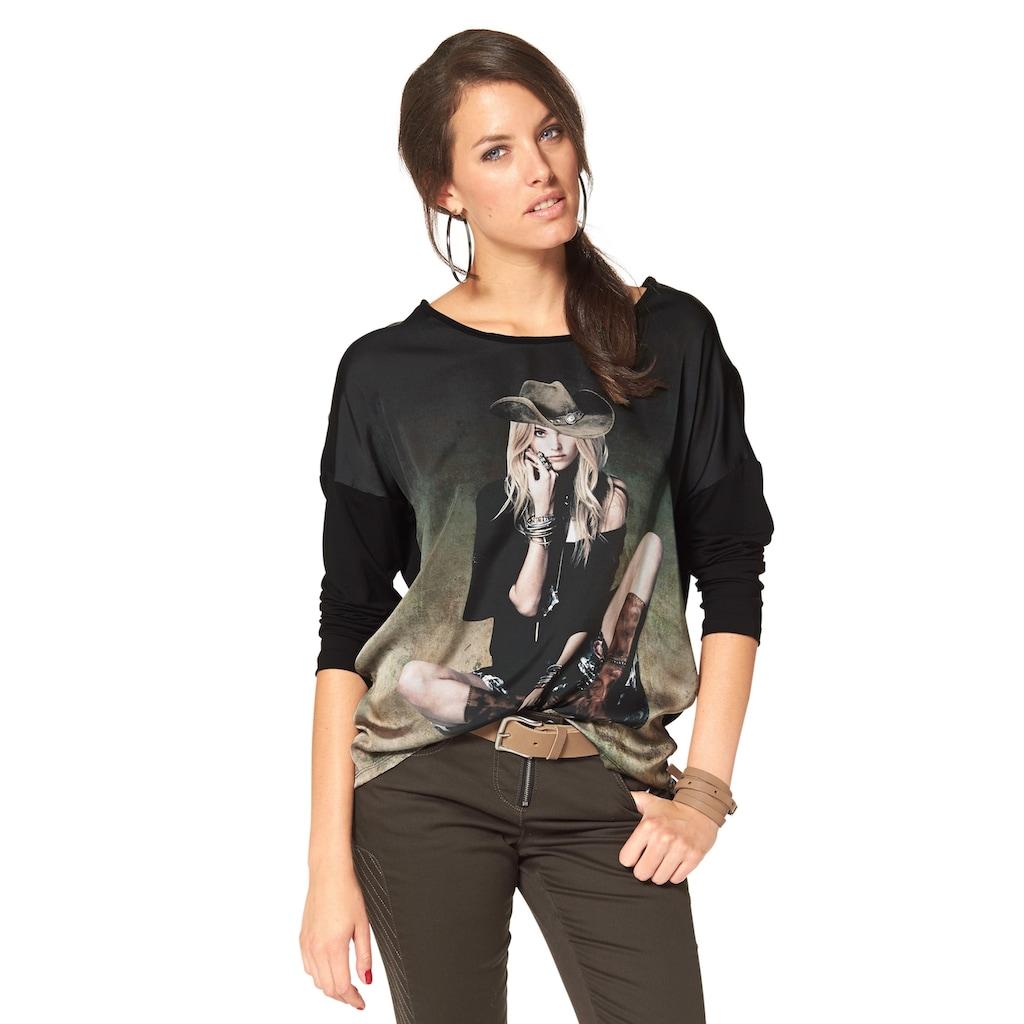 Aniston CASUAL Langarmshirt, mit femininem Frontdruck