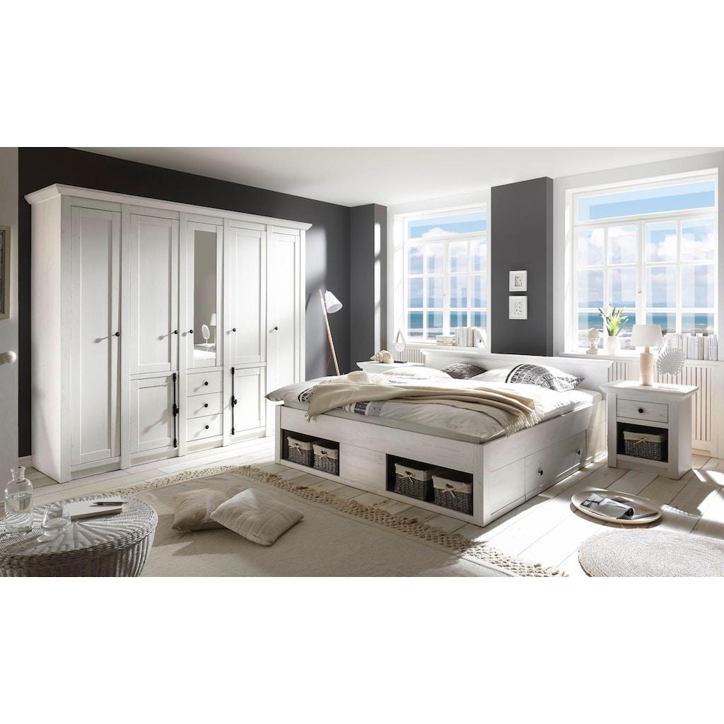 Home affaire Schlafzimmer-Set »California«, (Set, 4 tlg.), groß: Bett 180 cm, 2 Nachttische, 5-trg Kleiderschrank