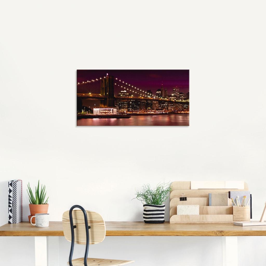 Artland Glasbild »Nächtliche Skyline Manhattan II«, Amerika, (1 St.)