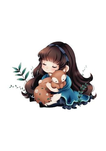 Wandtattoo »La Doll Blanche  -  Mädchen mit Fuchs« kaufen