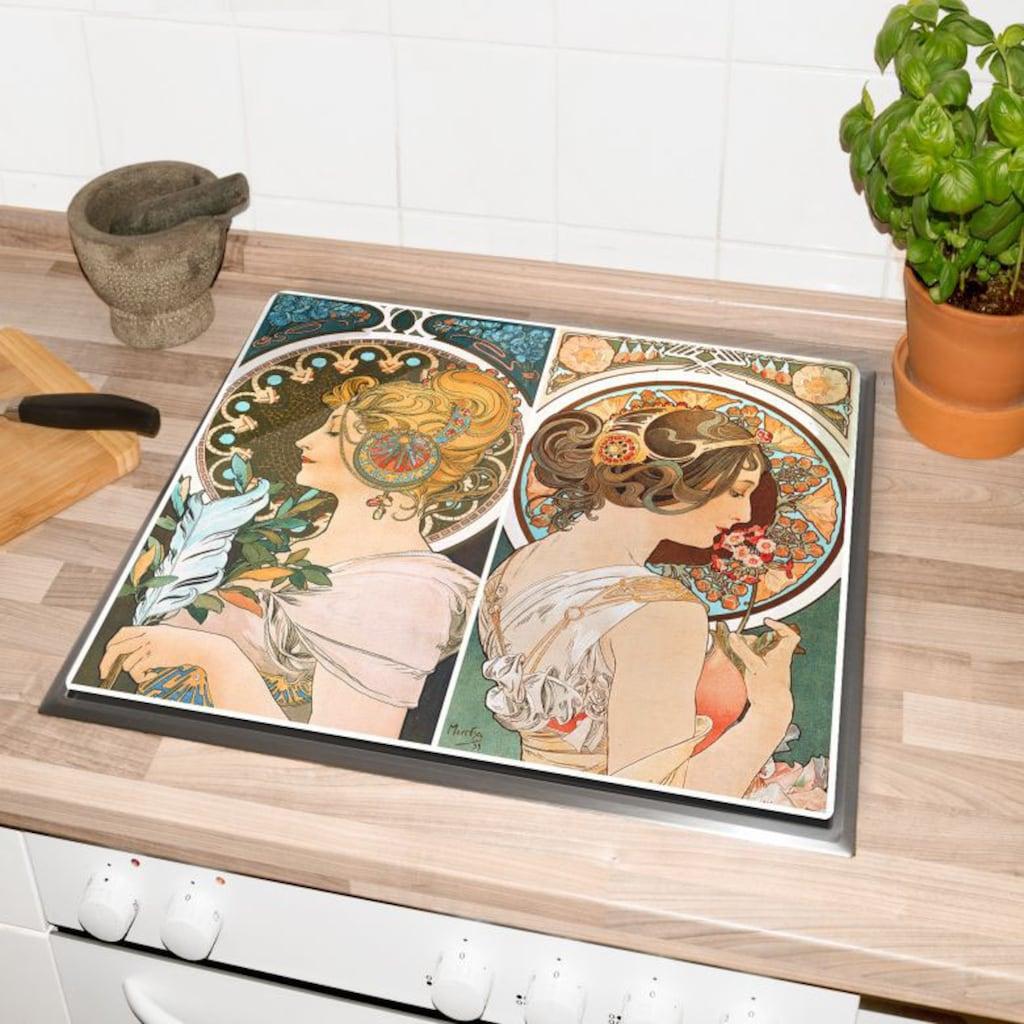 Wall-Art Herd-Abdeckplatte »Küche Herdabdeckplatte Art Deco«, (Set, 2 tlg.)