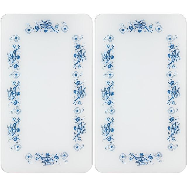 "WENKO Herd-Abdeckplatte ""Universal Blaue Rankblüten"", Glas Kunststoff, (Set, 2-tlg.)"