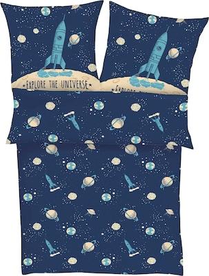 Bettwäsche-Sets für Kinder Weltall Rakete in Blau