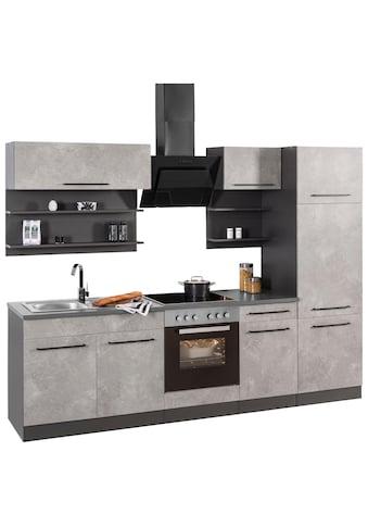 HELD MÖBEL Küchenzeile »Tulsa«, mit E-Geräten, Breite 270 cm, schwarze Metallgriffe,... kaufen