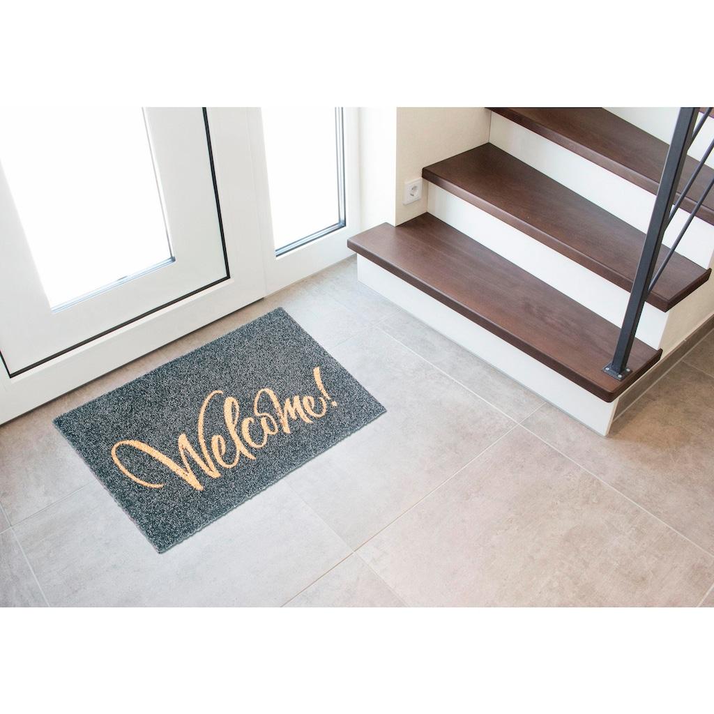 my home Fußmatte »Bente«, rechteckig, 5 mm Höhe, mit Spruch, In- und Outdoor geeignet, waschbar