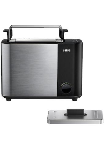 Braun Toaster »HT 5010.BK schwarz silber ID Collection«, 2 kurze Schlitze, 1000 W kaufen