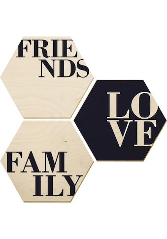 Holzbild »Love, Friends, Family« (Set) kaufen