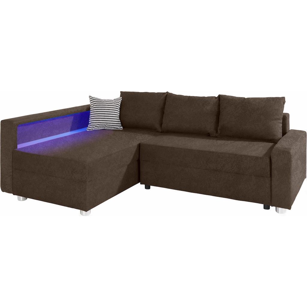 COLLECTION AB Ecksofa, inklusive Bettfunktion, Bettkasten und Federkern, wahlweise mit RGB-LED-Beleuchtung und USB-Port, Inklusive seitlichem Regalboden, Ottomane links oder rechts montierbar