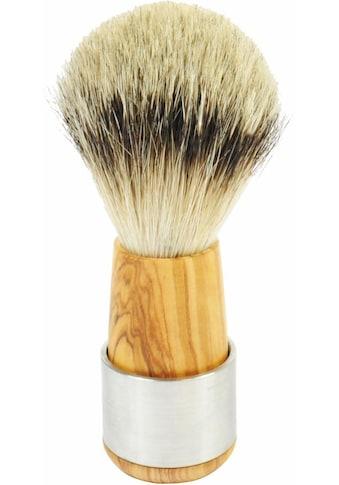 Golddachs Rasierpinsel, Silberspitze, Olivenholz mit Edelstahlring kaufen