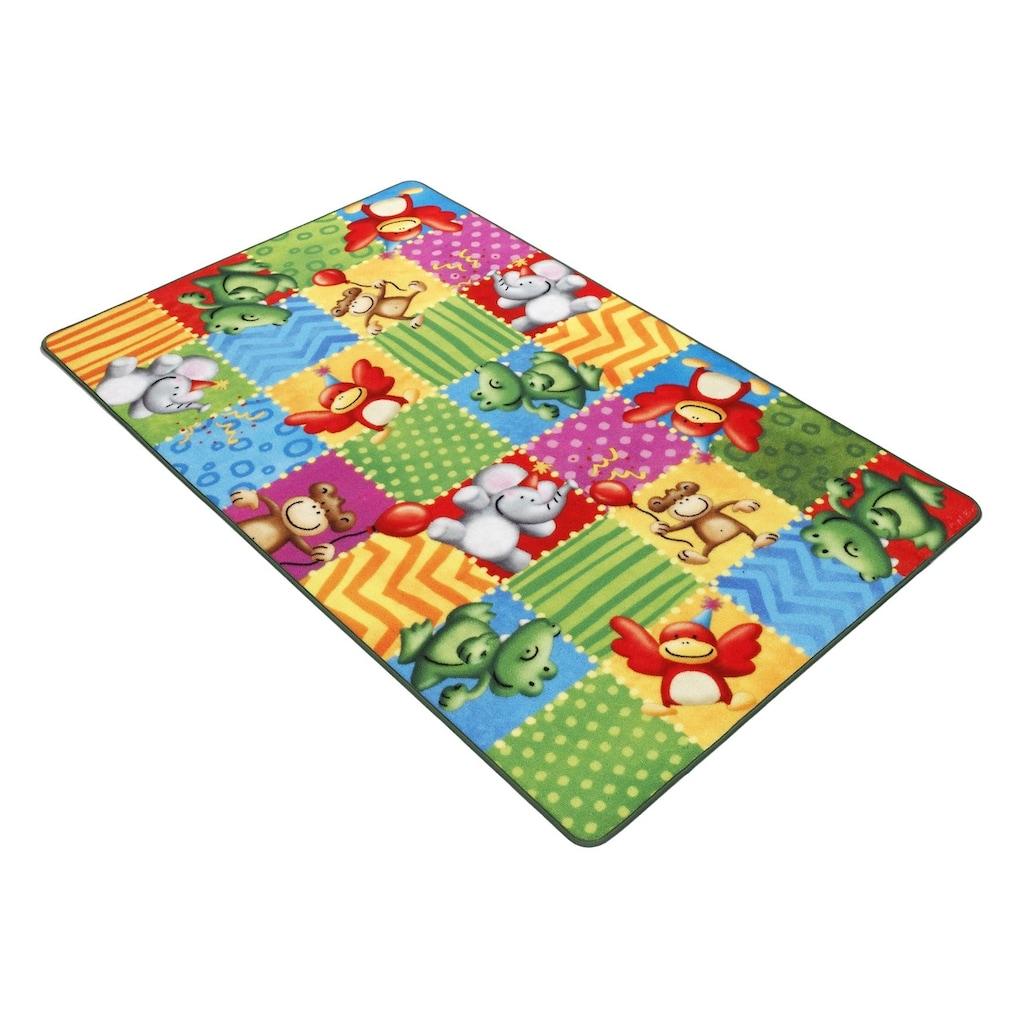 Böing Carpet Fußmatte »Lovely Kids LK-5«, rechteckig, 2 mm Höhe, Fussabstreifer, Fussabtreter, Schmutzfangläufer, Schmutzfangmatte, Schmutzfangteppich, Schmutzmatte, Türmatte, Türvorleger, Druckteppich, Motiv Zootiere