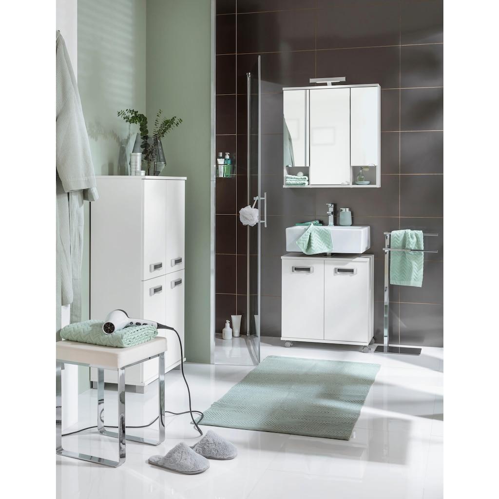 Schildmeyer Spiegelschrank »Cadi«, Breite 67 cm, 3-türig, LED-Beleuchtung, Schalter-/Steckdosenbox, Glaseinlegeböden, Made in Germany