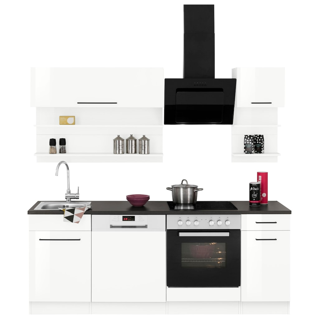 HELD MÖBEL Küchenzeile »Tulsa«, ohne E-Geräte, Breite 210 cm, schwarze Metallgriffe, hochwertige MDF Fronten
