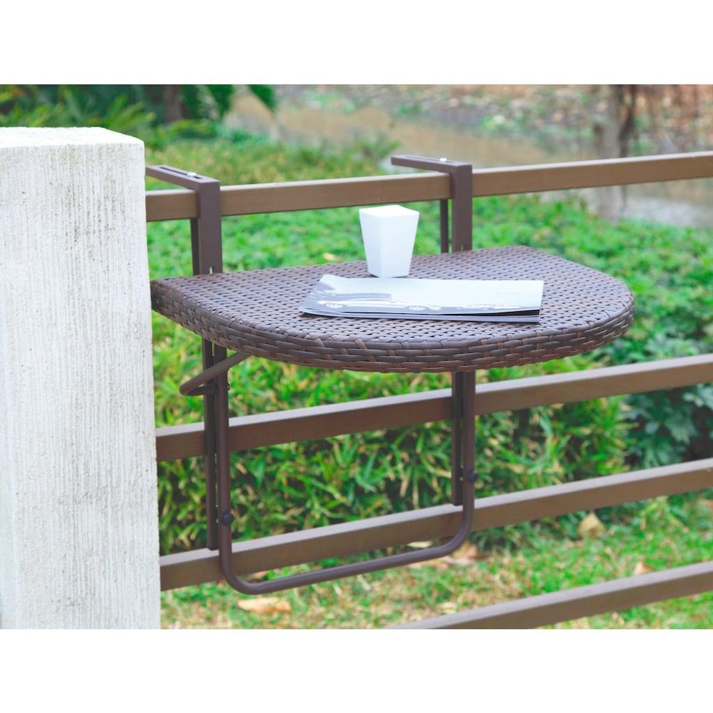 Garden Pleasure Balkonhängetisch »Rattan«, Polyrattan, klappbar, 60x50 cm