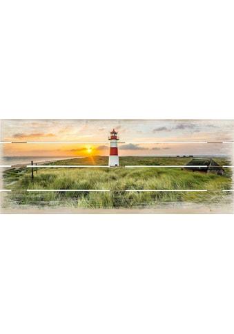 Wall - Art Holzbild »Leuchtturm auf Sylt« kaufen