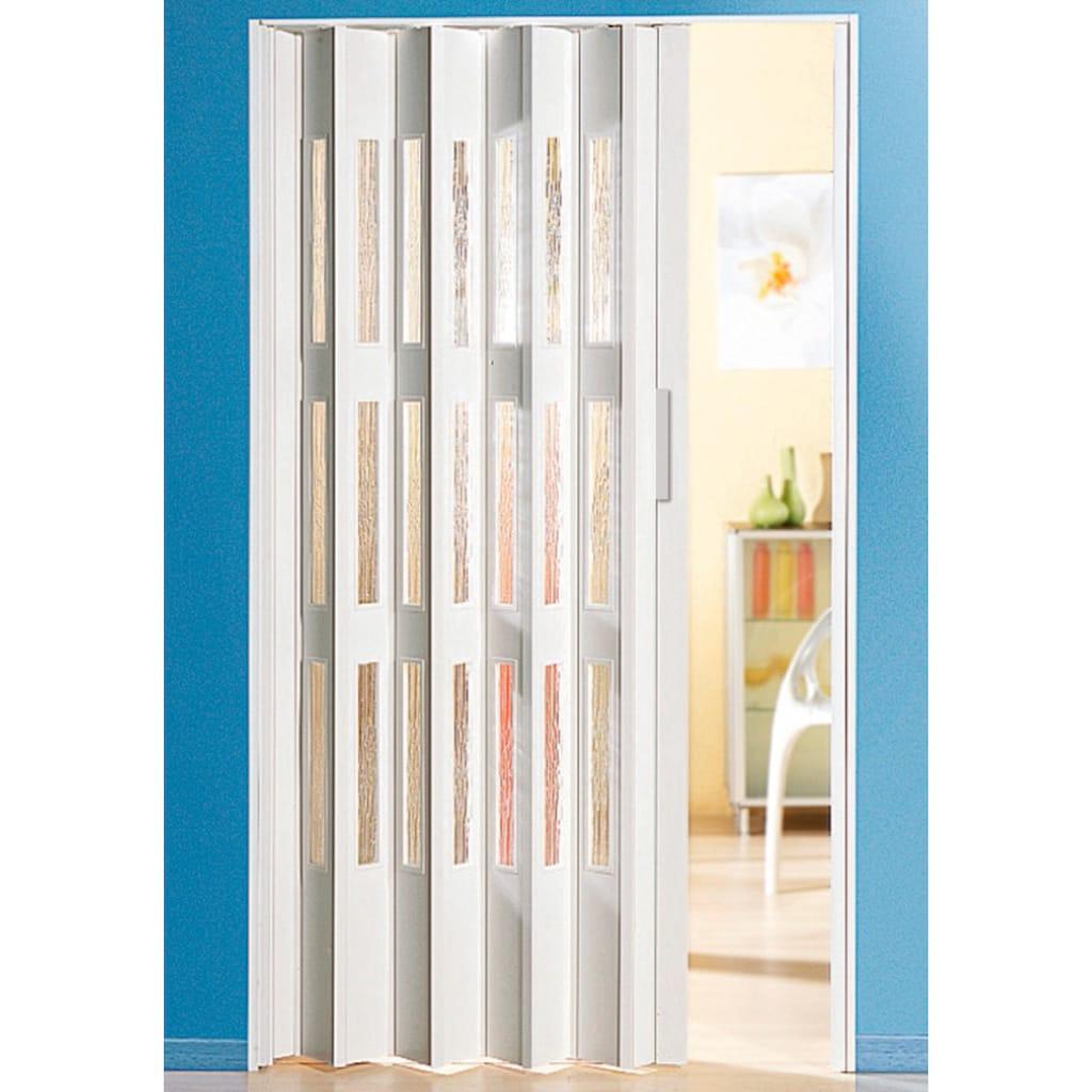 Falttür, Höhe nach Maß, weiß mit Fenstern in Riffelstruktur