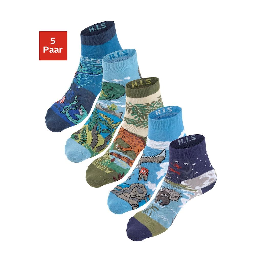 H.I.S Socken, (5 Paar), mit eingestrickten Motiven