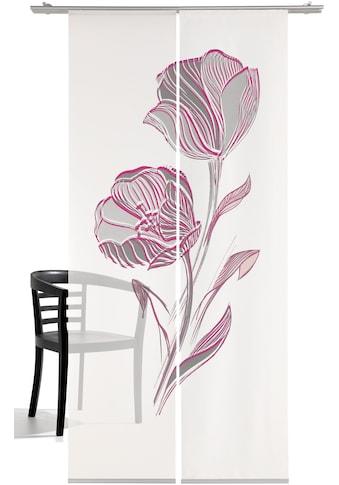 Schiebegardine, »Strichblume«, emotion textiles, Klettband 2 Stück kaufen