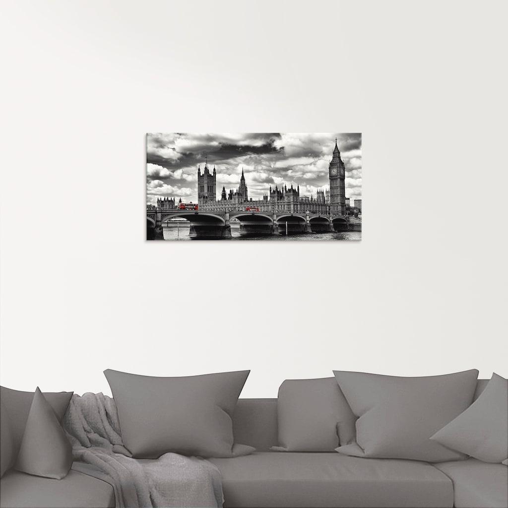 Artland Glasbild »London Westminster Bridge & Red Buses«, Großbritannien, (1 St.)