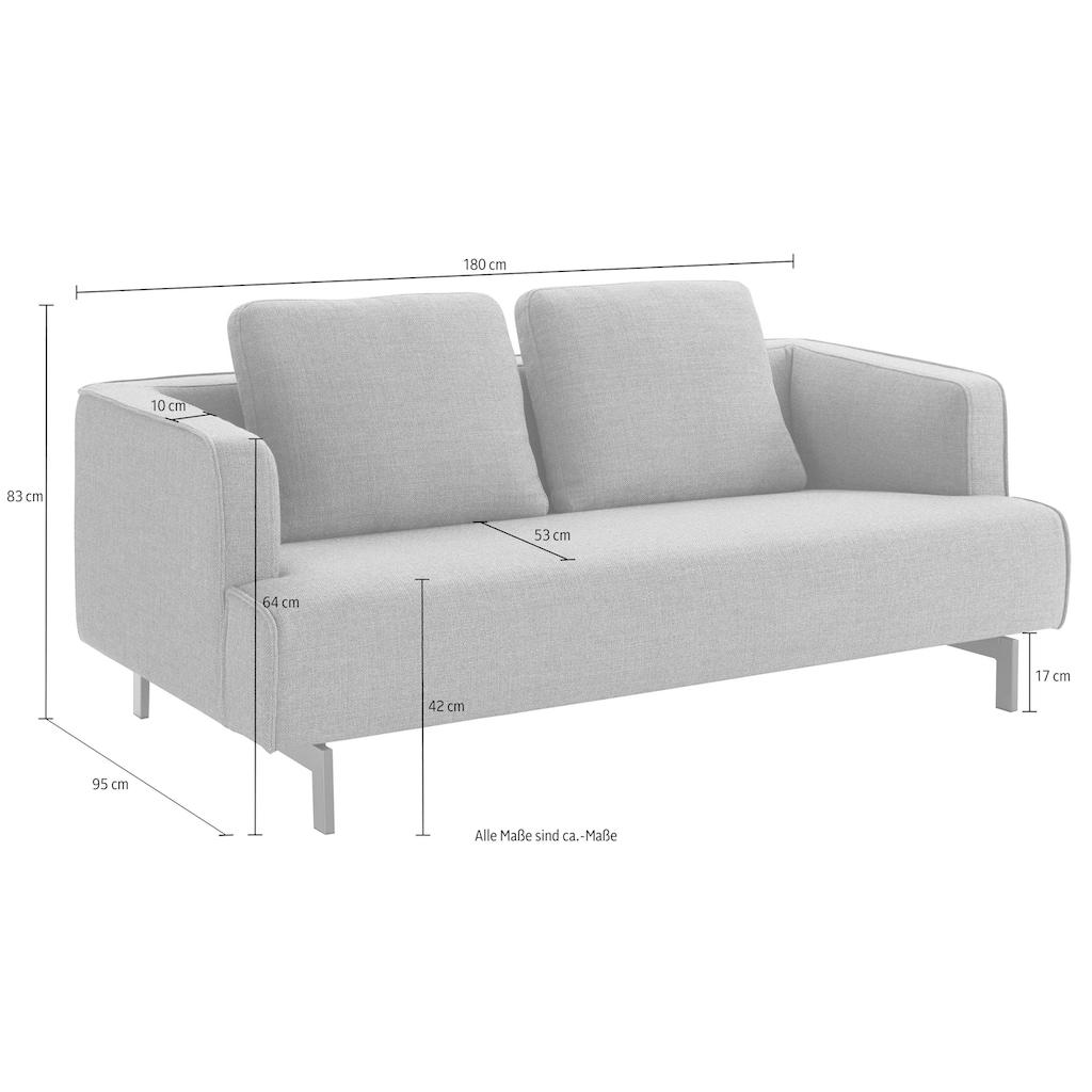 hülsta sofa 3-Sitzer »hs.440«, wahlweise in Stoff oder Leder, Spangenfüße umbragrau
