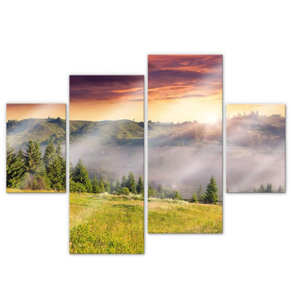 Wall-Art Mehrteilige Bilder »Bergtal im Nebel (4-teilig)«, (Set, 4 St.)