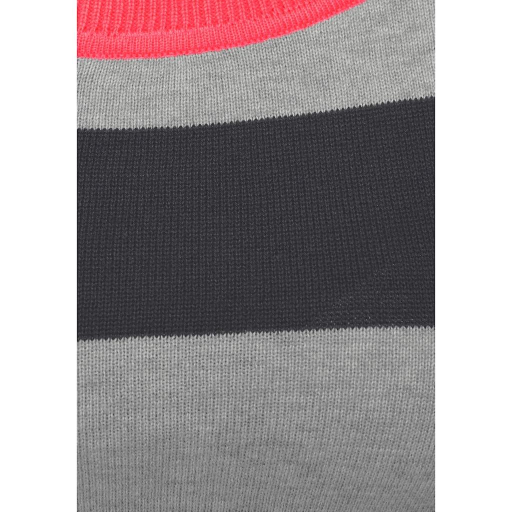 AJC Streifenpullover, mit neonfarbigen Kontrastdetails