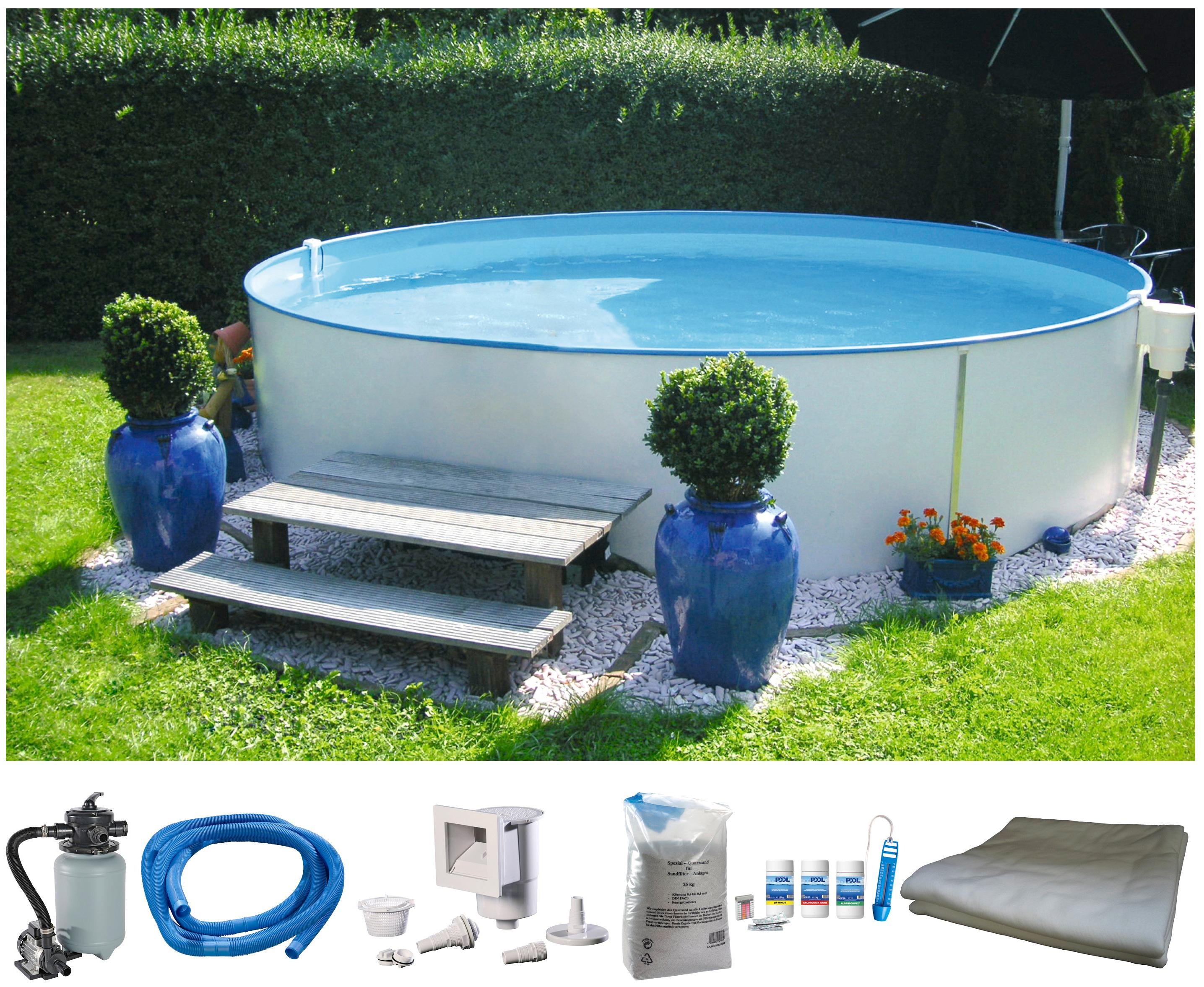 MYPOOL Komplett-Set: Rundpool »Premium«, 6-tlg., in verschiedenen Größen | Garten > Swimmingpools > Schwimmbecken | Weiß | MYPOOL