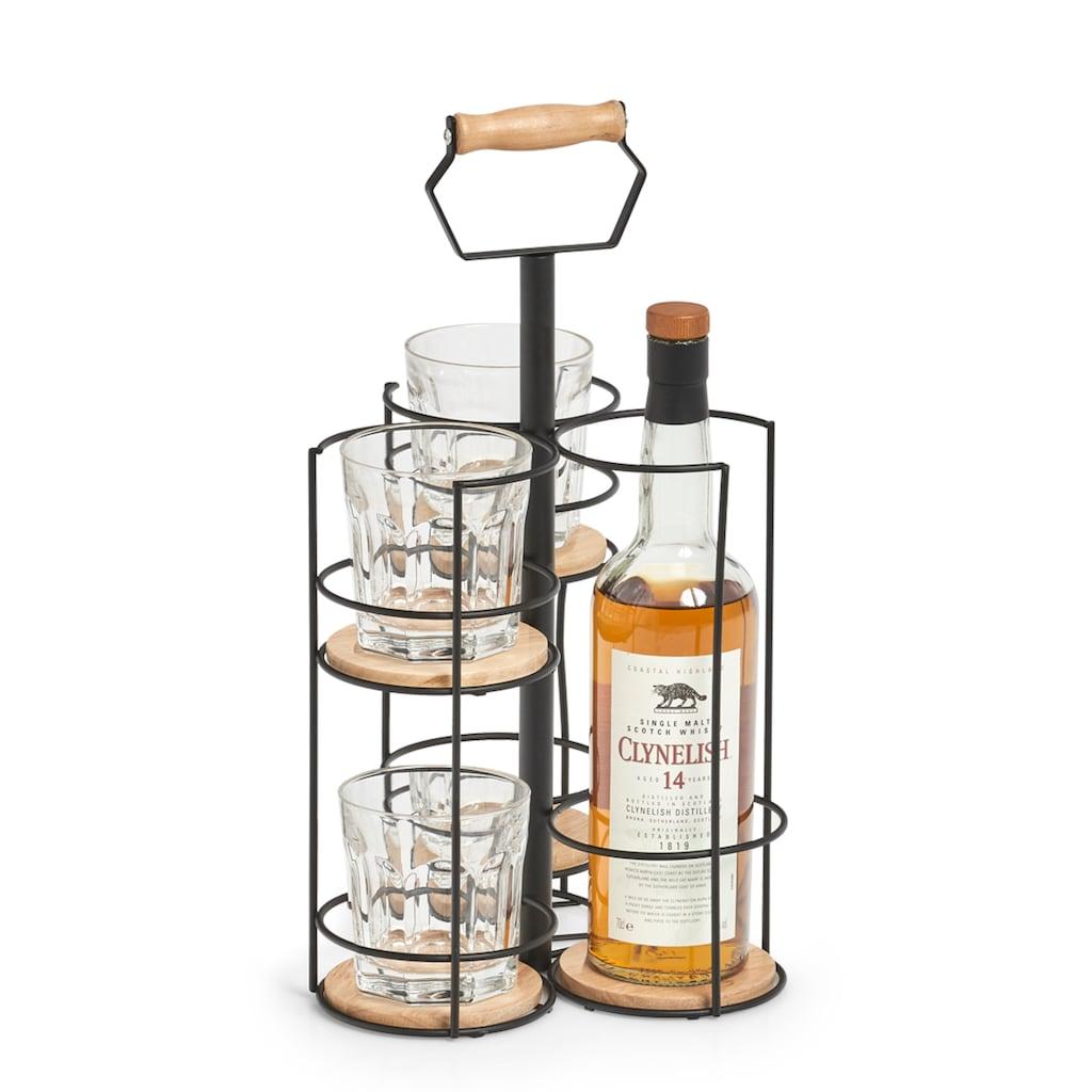 Zeller Present Weinflaschenhalter, Metall, auch für Whiskyflaschen samt Gläser perfekt geeignet
