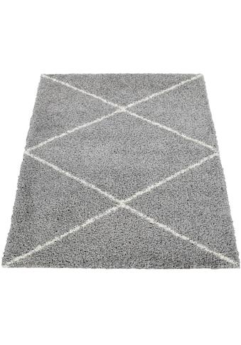 Paco Home Hochflor-Teppich »Kalmar 442«, rechteckig, 40 mm Höhe, Scandi Design, Rauten... kaufen