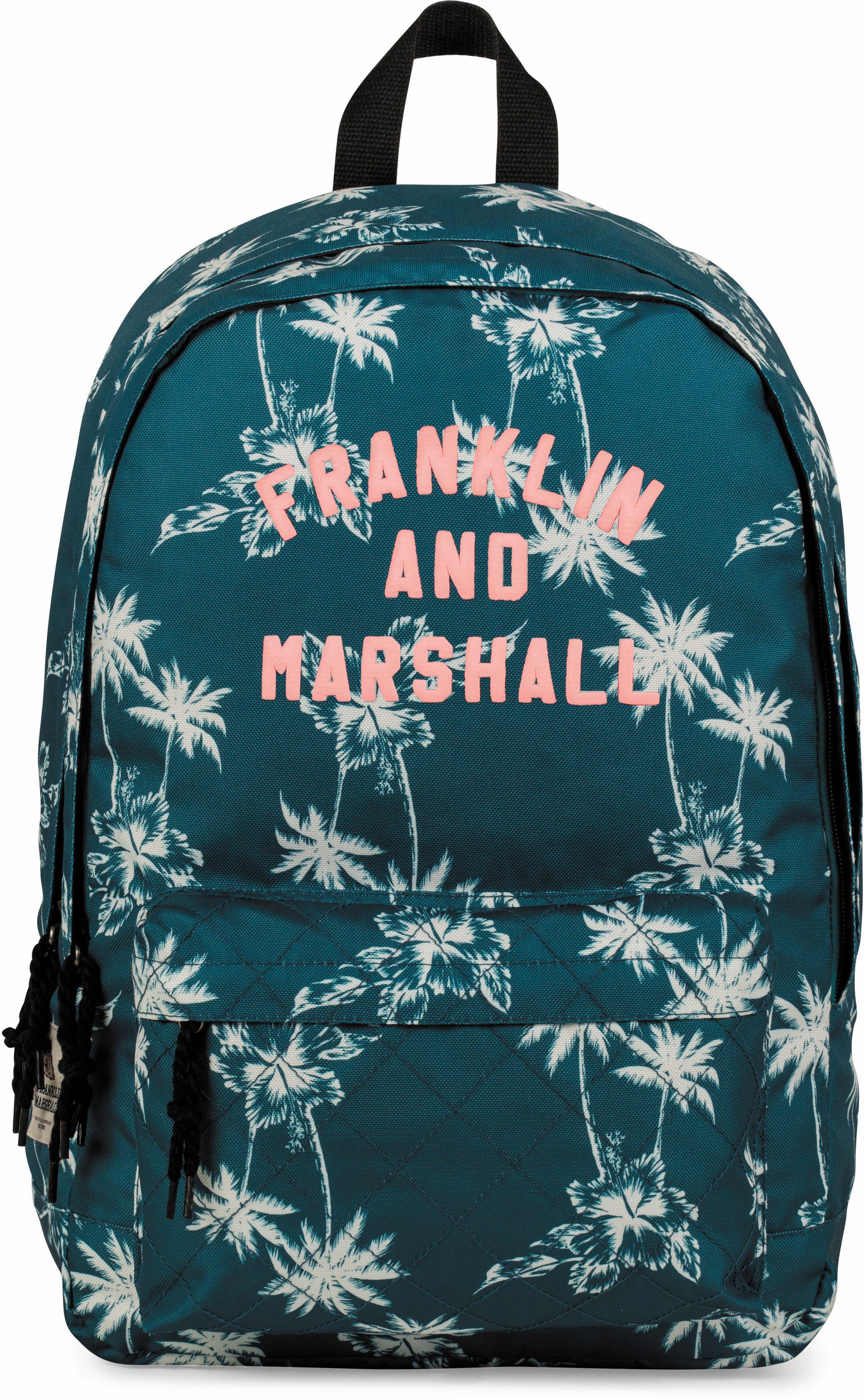 Franklin & Marshall Rucksack mit 2 Hauptfächern, »Girls, Palmen, petrol« | Taschen > Rucksäcke > Sonstige Rucksäcke | Blau | FRANKLIN & MARSHALL