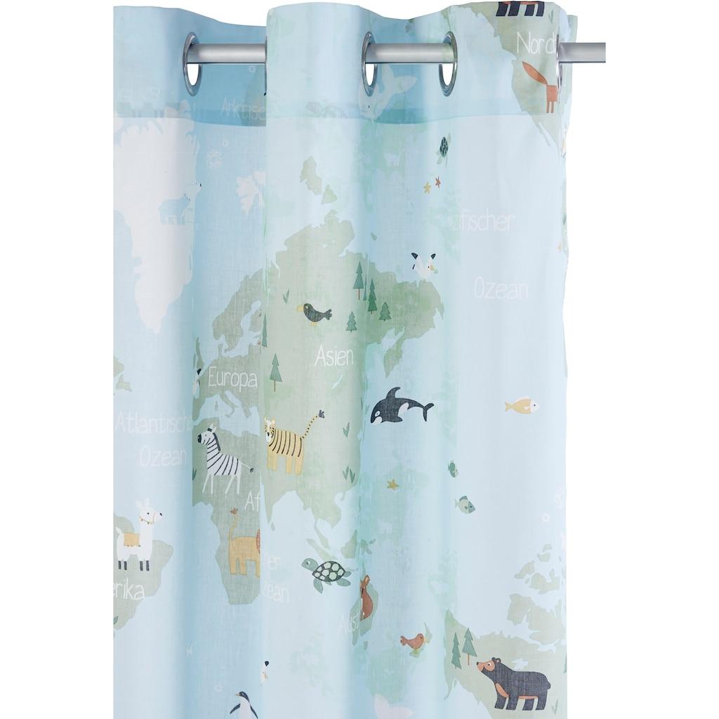 Lüttenhütt Vorhang »Weltkarte«, Nachhaltige Kindergardine