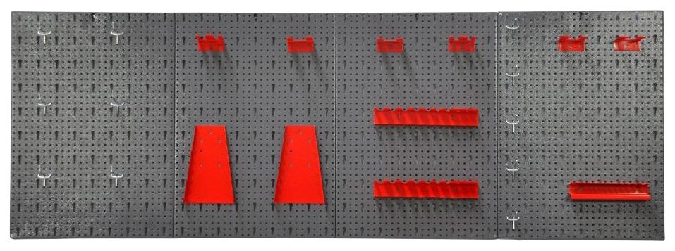 KREHER Lochwand »XL«, 4er Set Lochblech + 22-tlg. Werkzeughaltersortiment | Baumarkt > Werkbank | Grau | KREHER