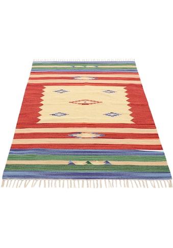 carpetfine Teppich »Kelim Mira«, rechteckig, 5 mm Höhe, Flachgewebe, Wendeteppich aus reiner Baumwolle, Wohnzimmer kaufen