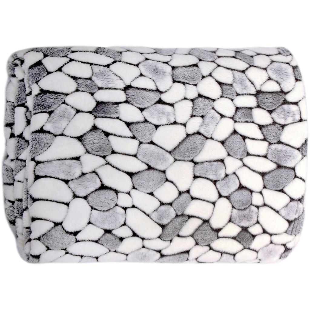 Delindo Lifestyle Wohndecke »Stone«, kuschelig weiche Coral Fleece Decke in Steinoptik