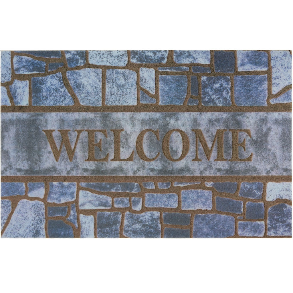 DELAVITA Fußmatte »Welcome blue«, rechteckig, 6 mm Höhe, Schmutzmatte, mit Spruch, In- und Outdoor geeignet