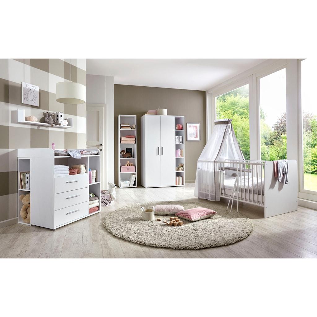 BMG Babyzimmer-Komplettset »Luis«, (Set, 7 tlg.), Bett + Wickelkommode + 2-trg. Schrank + Standregal + Unterstellregal (Set 2-tlg.) + Wandboard
