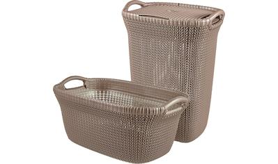 Curver Wäschekorb »Knit«, (Set, 2 St.), und Wäschesammler dunkelbraun kaufen