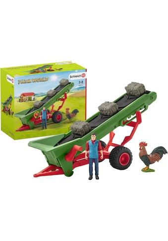 Schleich® Spielfahrzeug-Anhänger »Farm World, Heuförderband mit Bauer (42377)«, Made in Germany kaufen
