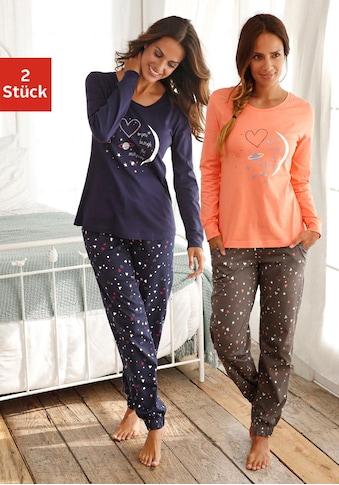 Vivance Dreams Pyjama, (2 Stück), mit Herzprint kaufen