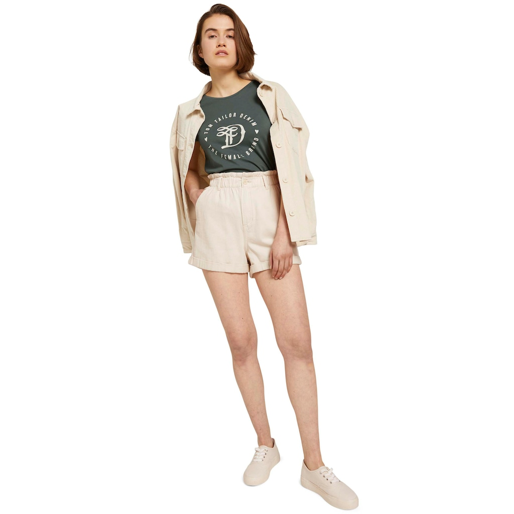 TOM TAILOR Denim Shorts, mit gerafftem Bund und individuell krempelbaren Hosenbeinen