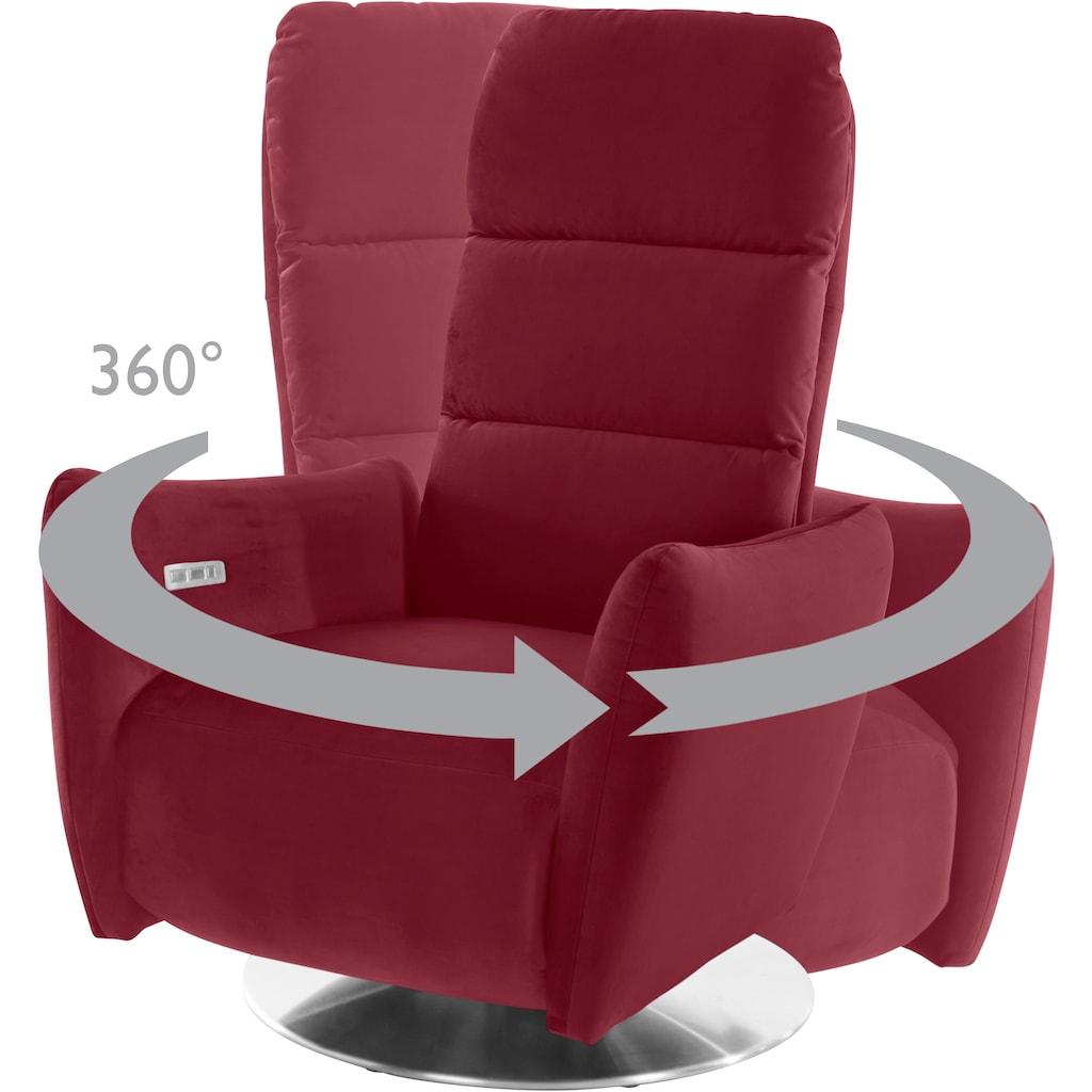 Leonique Relaxsessel »Delano«, in 3 Größen S-M-L, mit Vario-Kopfteilverstellung, Drehfunktion und integrierter Fußstütze, wahlweise manuelloder motorisch verstellbar, auch mit Aufstehhilfe