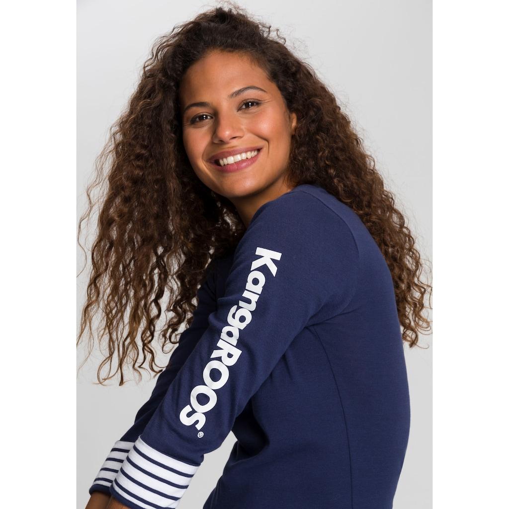 KangaROOS 3/4-Arm-Shirt, mit großem Markenschriftzug am Arm