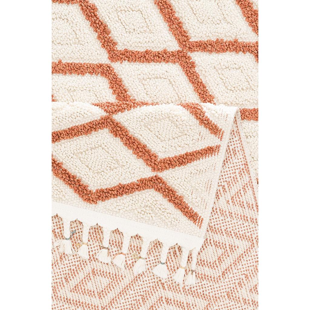 Home affaire Teppich »Hagen«, rechteckig, 18 mm Höhe, mit Fransen, Wohnzimmer
