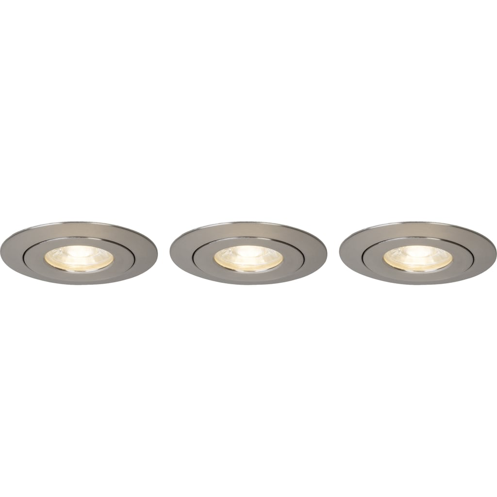 Brilliant Leuchten Nodus LED Einbauleuchtenset 3x schwenkbar eisen/warmweiß